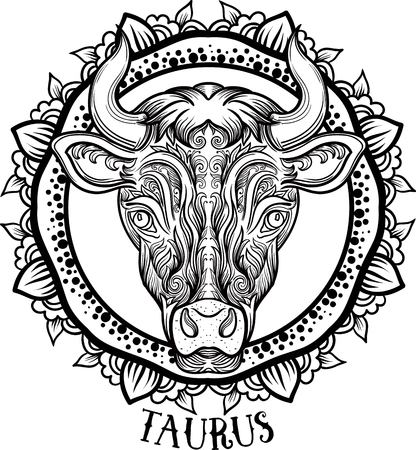 Zodiac Taurus. tribal, decorative wool pattern. Vector