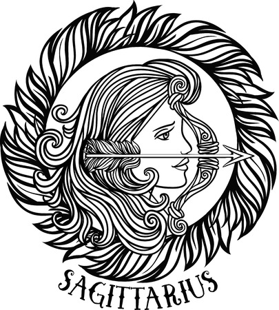 Zodiac sagittarius tribal, decorative wool pattern. Vector Çizim