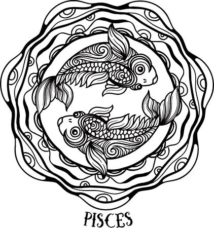 Zodiac pisces tribal, decorative wool pattern. Vector Çizim