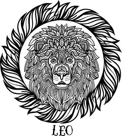 Leo zodiaco. , Patrón de lana decorativo tribal. Vector Foto de archivo - 63417076