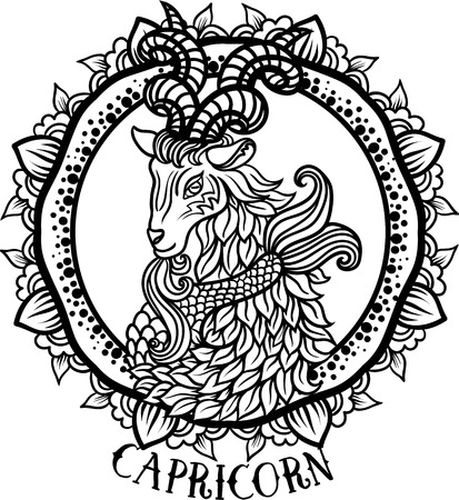 Zodiac Capricorn tribal, decorative wool pattern. Vector Çizim
