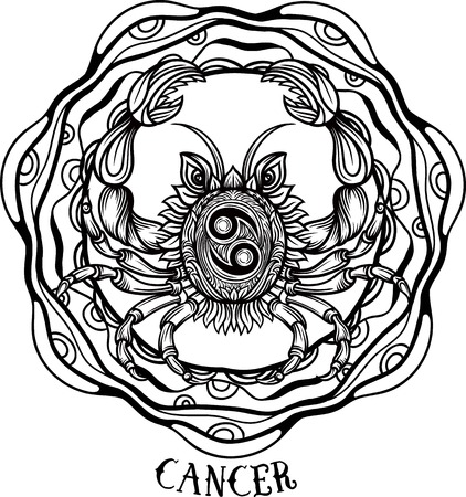 Hand drawn romantic beautiful line art of zodiac cancer. Vector illustration isolated. Ethnic design, mystic horoscope symbol for your use.