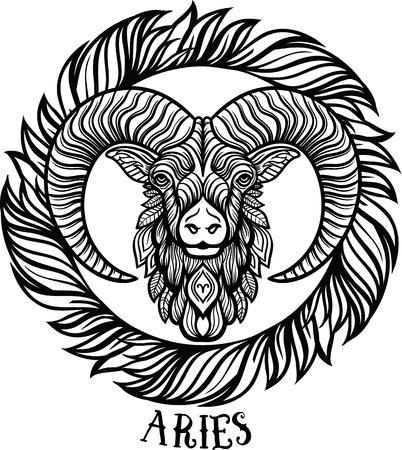 Zodiac Aries. tribal, decorative wool pattern. Boho chic.Vector 免版税图像 - 63417079