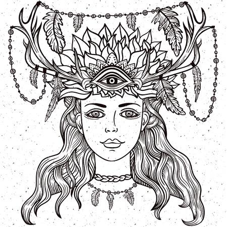 third eye: Hand drawn beautiful artwork of female shaman with third eye.