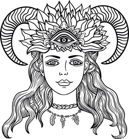 third eye: Hand drawn beautiful artwork of female shaman with third eye and ram horn . Illustration