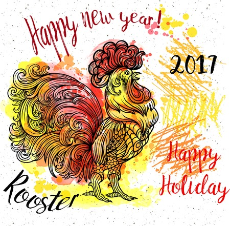 Vector stylized celebration red fiery rooster.Watercolor, chalk pastels pencils texture vector Coloring Illustration