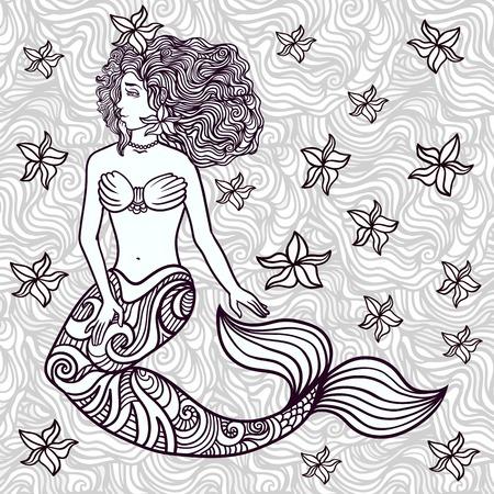 Hand drawn beautiful artwork mermaid with curly hair, algae, barnacles.