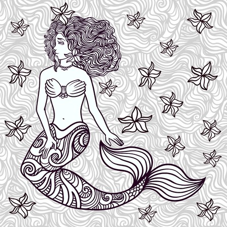 Hand drawn beautiful artwork mermaid with curly hair, algae, barnacles.