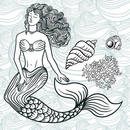 Hand drawn beautiful artwork mermaid with curly hair, algae, barnacles . Sea, fantasy, spirituality, mythology, tattoo art, coloring books. Isolated vector line art doodle illustration. Set of ocean