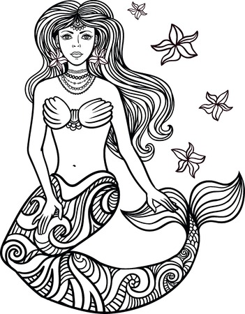mythology: Hand drawn beautiful artwork mermaid with curly hair, algae, barnacles . Sea, fantasy, spirituality, mythology, tattoo art, coloring Illustration