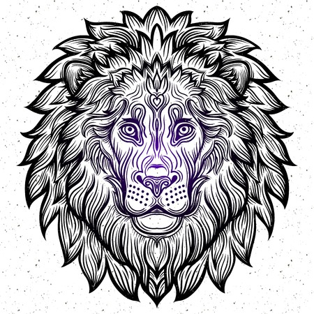 decorative line: Detailed Lion in aztec filigree line art style. Tattoo, coloring page for adult. T-shirt animals design. Zodiac leo. tribal, decorative wool pattern. Vector