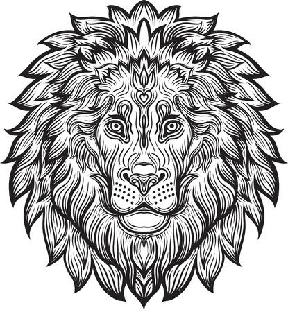 Lion détaillée dans le style d'art de la ligne de filigranes aztec. Tatouage, la page de coloriage pour les adultes. animaux T-shirt design. leo Zodiac. tribal, motif de laine décorative. Vecteur Vecteurs