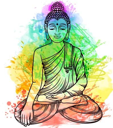 Boeddha gautama met veelkleurige regenboog aura. Vector illustratie.
