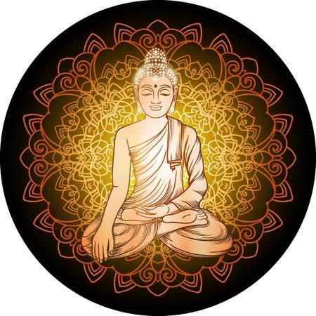 gautama buddha: Buddha gautama with gold Filigree mandala vector illustration.