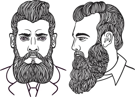 bushy: Man gentleman with a long bushy beard and stylish hairstyle in profile and full face.Hand drawn line art sketch fashion illustration. Bearded man. For t-shirt print hipster style. Vector