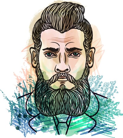 suspender: Hand drawn sketch fashion illustration Bearded man. For t-shirt print. Watercolor, chalk pastels pencils texture. Gentleman hipster style. Vector