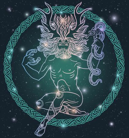 Ancient deity with deer antlers.Forest and Nature Spirit.male deity.Celtic shaman with horns and a snake in his hand.Tattoo,coloring.Boho chic Hipster Hippie design.