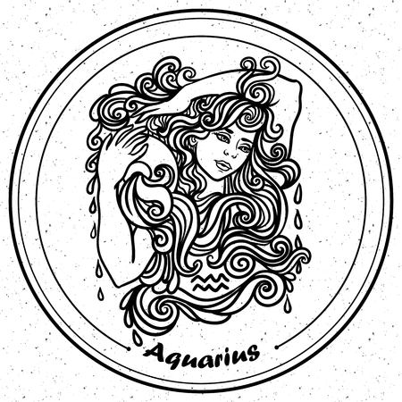 tribal aquarius: Detailed Aquarius in aztec filigree line art Paisley style. Tattoo, coloring page for adult. T-shirt design. Zodiac Aquarius tribal, decorative wool pattern. Illustration