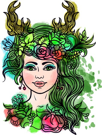 nymph: Goddess with deer horns.Forest nymph with wreath of flowers and herbs.Tattoo, coloring. floral pattern.Boho chic Hipster Hippie design.Watercolor texture.