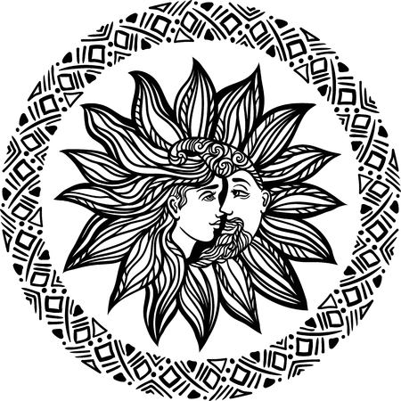 Bohemian sun and moon. Tattoo design.illustration. Alchemy occult symbol. Boho chic hipster filigree line art style. Coloring page