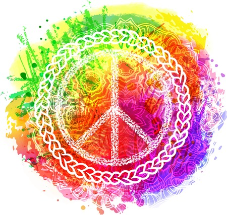 Peace Hippie Symbol over colorful rainbow background. illustration for t-shirt print over Abstract watercolor,chalk, pastels texture background.International Day of Peace poster. Dotwork tattoo Illustration