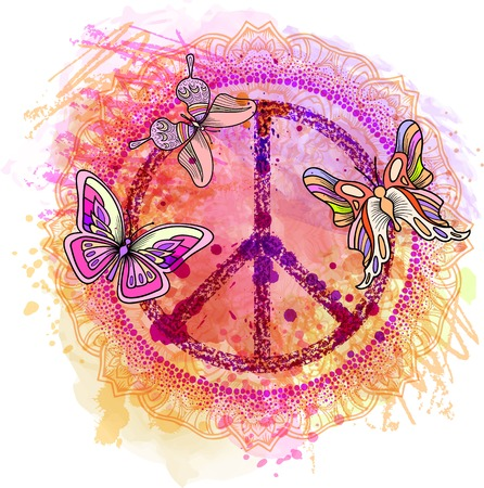 Peace Hippie Symbol over colorful background. illustration for t-shirt print over Abstract watercolor,chalk, pastels texture background.