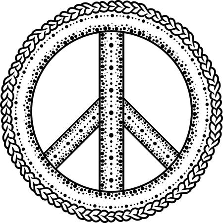 pacifist: Sign pacifist, peace symbol, drawn by hand with a brush. Black Hippie sign on a white background. Isolated. Blackwork,dotwork Hipster Boho style tattoo