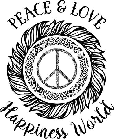 pacifist: Sign pacifist, peace symbol, with a brush. Black Hippie sign on a white background. Isolated. Blackwork,dotwork Hipster Boho style tattoo. Peace and love.Happiness World lettering