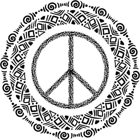 pacifist: Sign pacifist, peace symbol,  with a brush. Black Hippie sign on a white background. Isolated. Blackwork,dotwork Hipster Boho style tattoo Illustration