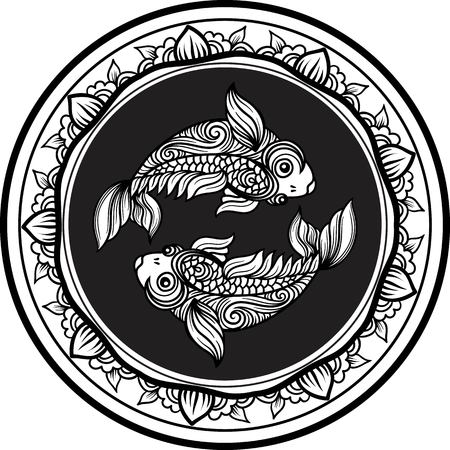Detailed pisces in aztec filigree line art style. Tattoo, coloring page for adult. T-shirt design. Zodiac pisces tribal, decorative wool pattern.