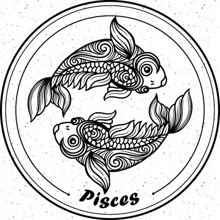 godness: Detailed pisces in aztec filigree line art style. Tattoo, coloring page for adult. T-shirt design. Zodiac pisces tribal, decorative wool pattern.
