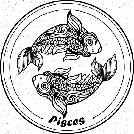 Piscis Detallados En El Estilo De La Línea De Arte De Filigrana ...