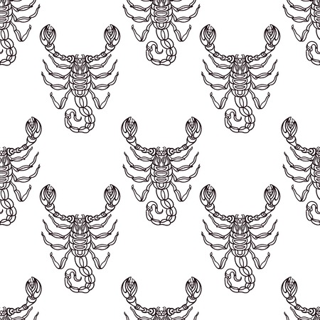godness: Detailed seamless pattern with Scorpio in aztec filigree line art style. Tattoo, coloring page for adult. T-shirt design. Zodiac Scorpio tribal, decorative wool pattern.