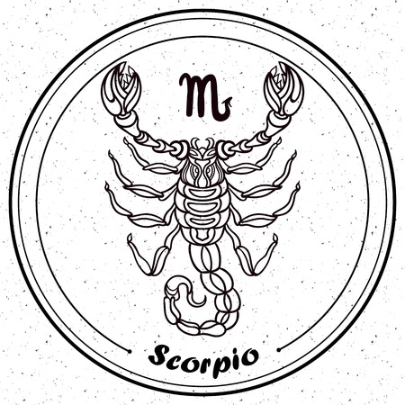 zodiacal symbol: Detailed Scorpio in aztec filigree line art style. Tattoo, coloring page for adult. T-shirt design. Zodiac Virgo tribal, decorative wool pattern.