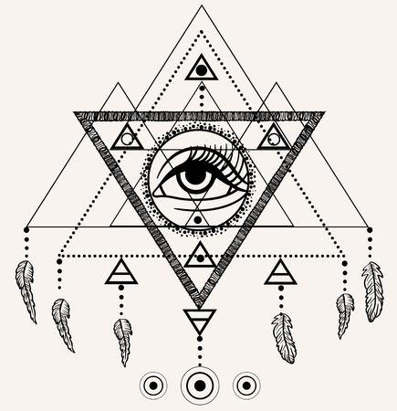 third eye: Blackwork tattoo flash. Dreamcatcher with third eye, feathers and triangular pyramid.  Tattoo design, mystic symbol. New school dotwork. Boho hipster style. Navajo jewelry decorations.