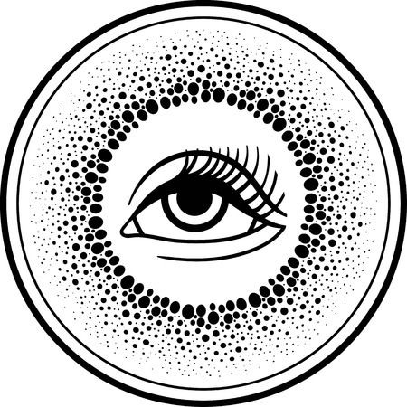 third eye: Third eye.Blackwork dotwork drawing line art Boho chic style. T-shirt, Hippie hipster tattoo design. All-seeing eye of providence.Occult mystical tribal symbol.