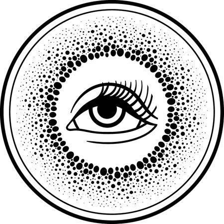 third eye: Third eye.Blackwork dotwork drawing line art Boho chic style. T-shirt, Hippie hipster tattoo design. All-seeing eye of providence.Occult mystical tribal symbol.