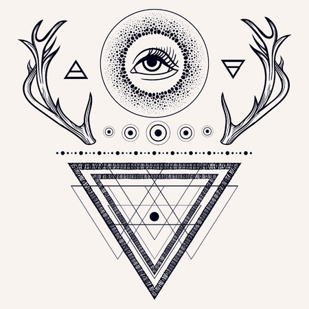 Blackwork tattoo flash. Dreamcatcher with third eye, feathers and deer antlers. Tattoo design, mystic symbol. Sacred geometry dotwork. Boho hipster design. Print, poster,t-shirts and textiles. Illustration