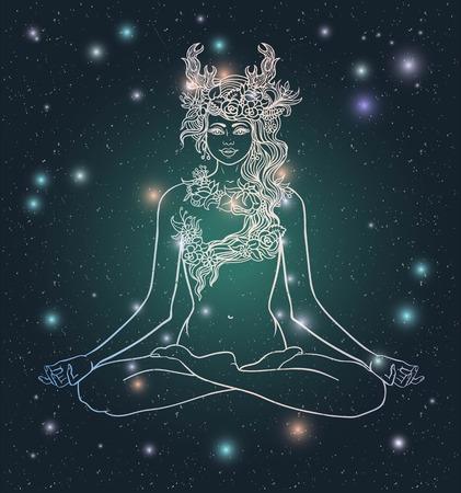 Diosa con cuernos de venado sentado en loto yoga meditación ninfa pose.Forest con corona de flores y herbs.Tattoo, coloración. diseño floral elegante pattern.Boho Hipster Hippie.