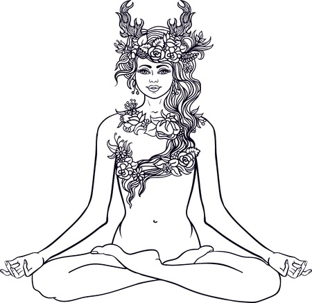 Goddess with deer horns sitting in Yoga lotus meditation pose.Forest nymph with wreath of flowers and herbs.Tattoo, coloring.
