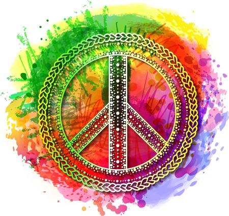 Pace Hippie simbolo over arcobaleno colorato sfondo. illustrazione per la stampa t-shirt su Abstract acquerello, gesso, pastelli trama background.International Giorno del manifesto Pace. Dotwork tatuaggio