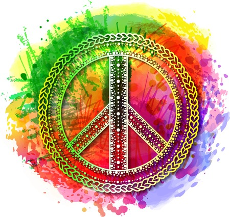 Peace Hippie Symbol over colorful rainbow background.  illustration for t-shirt print over Abstract watercolor,chalk, pastels texture background.International Day of Peace poster. Dotwork tattoo