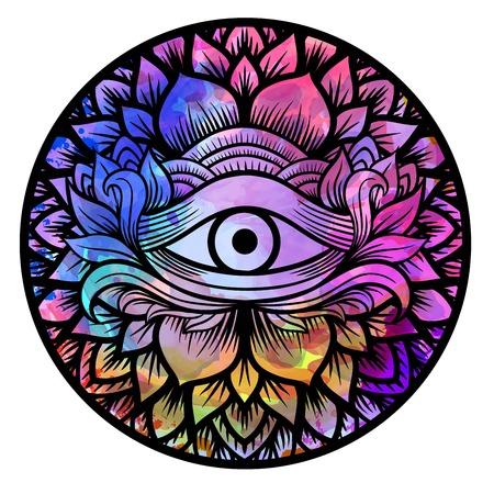 Drittes Auge mit Blumenmandala Zeichnung Linie Kunst Boho Chic-Stil. Am besten für erwachsene Malbuch und Meditation entspannen. Aquarell, Kreide, Pastell, Bleistift Textur. T-Shirt-Design.