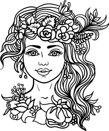 nymph: woman. Coloring page.Forest nymph with wreath of flowers and herbs.Tattoo, coloring.