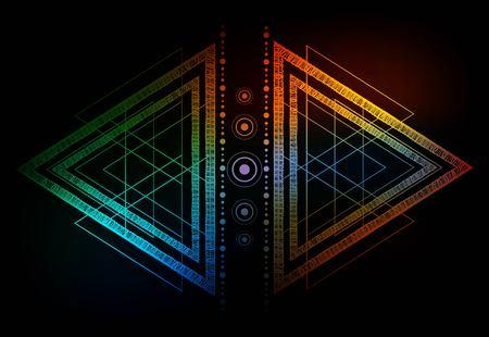 Hipster mistica sacra geometria Blackwork tribale tattoo.Polyhedron triangolo poligono, cerchio, i puntini, geometriche matematiche decorazioni dei monili forms.Abstract background.Vector.Boho dotwork design.Navajo.
