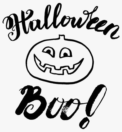 Letras Cepillo De Escritura De La Caligrafía Feliz Halloween ...