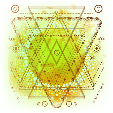 Hipster mystic sacred geometry on handcrafted yellow watercolor background. Boho chic magic indigo spaces.Triangle,circle, dots, geometric forms.Vector. Dotwork design.Navajo jewelry decorations.