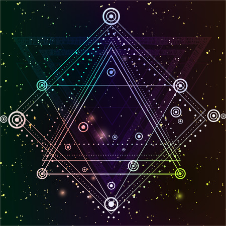 Hipster mystic sacred geometry. Boho chic magic indigo spaces.Triangle,circle, dots, geometric forms.Vector. Dotwork design.Navajo jewelry decorations.
