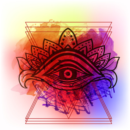 Third eye with dots mandala handcrafted line art Boho chic style. Best for and meditation relax poster and fashion sacred design. Watercolor, chalk, pastels, pencils texture. T-shirt trend. Vector Stock Vector - 81524410