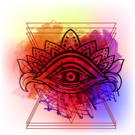 Troisième oeil avec des points de mandala art artisanal artisanat style chic Boho. Le meilleur pour la méditation et l'affiche de détente et le design sacré de la mode. Aquarelle, craie, pastels, crayons de texture. T-shirt tendance. Vecteur